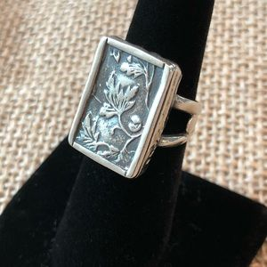 RARE Silpada Leaf Vine Silver Rectangle Ring Sz 6